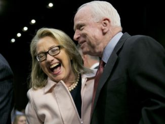 Liberal McCain laughs it up with his favorite Democrat, Hillary Clinton