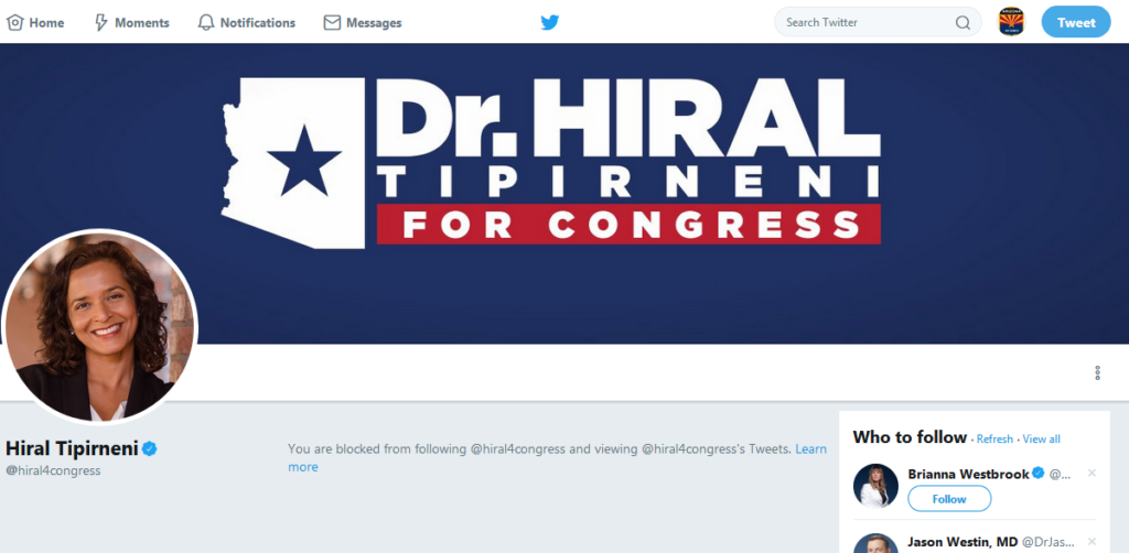 #BREAKING – Dem Candidate Hiral Tipirneni Blocks Citizen Journalists After Article Exposing Hiral's Socialist Healthcare Policy